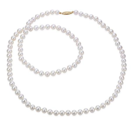 12c294e80305bb Imperial Pearls 14K 7-7.5mm Cultured Freshwater Pearl Necklace - 10080080 |  HSN