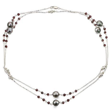 "Imperial Pearls 38"" Cultured Tahitian Pearl & Garnet Station Necklace"