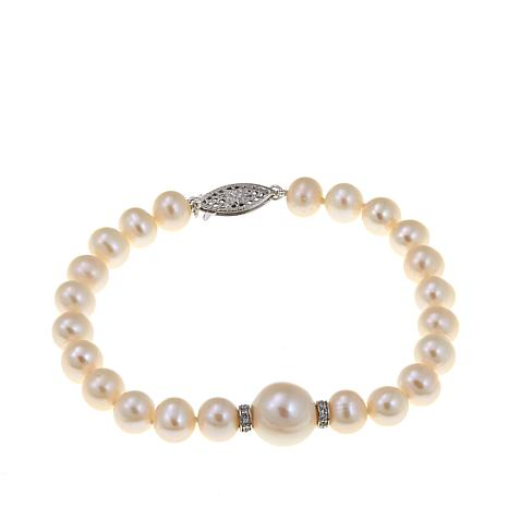 Imperial Pearls 7-12mm Cultured  Pearl Station Bracelet