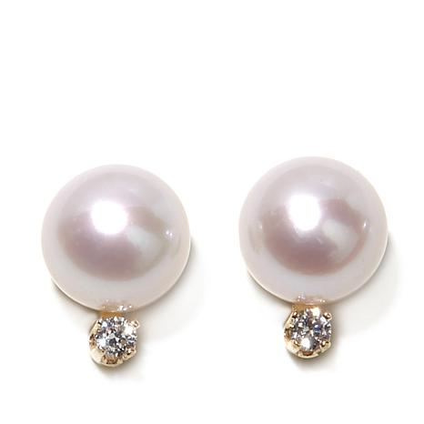 Imperial Pearls 8-9mm Pearl and Diamond 14K Gold Studs