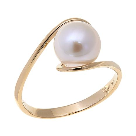 Imperial Pearls Cultured Akoya Pearl 14K Bypass Ring