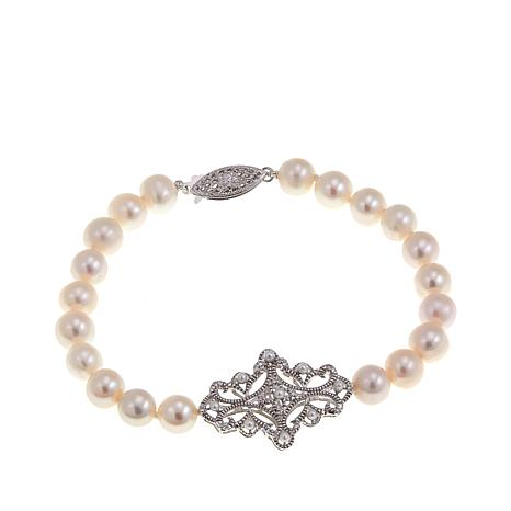 Imperial Pearls Cultured Pearl Filigree Bracelet