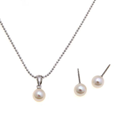 Imperial Pearls Cultured Pearl Pendant and Earrings