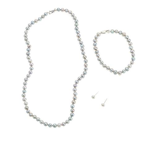 Imperial Pearls Gray Cultured Pearl 3pc Jewelry Set