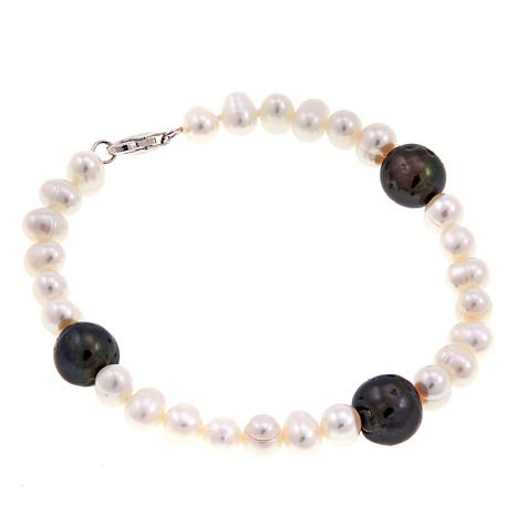 "Imperial Pearls Peacock & White Cultured Pearl 7-1/2"" Station Bracelet"