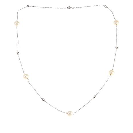 "Imperial Pearls White Cultured Pearl and White Topaz 24"" Necklace"