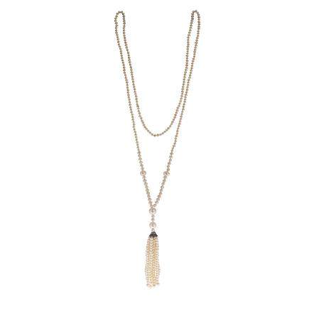 Imperial Pearls White Cultured Pearl Tassel Necklace