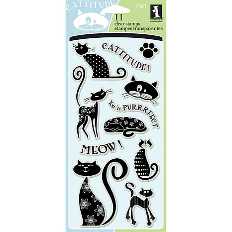 """Inkadinkado 4"""" x 8"""" Sheet of Clear Stamps - Cats"""