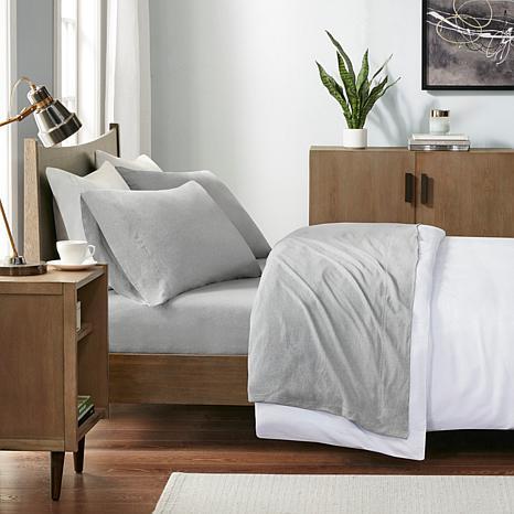 INK+IVY Heathered Cotton Jersey Gray Sheet Set - Twin XL