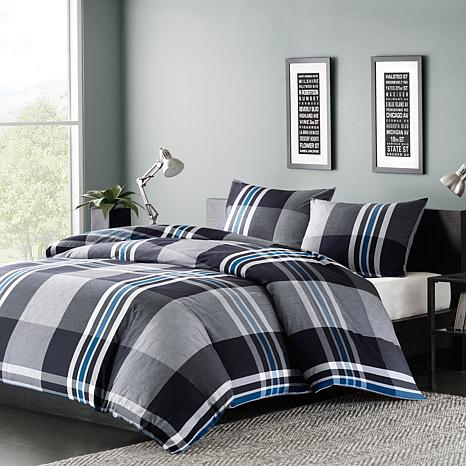 INK+IVY Nathan Cotton Duvet Cover Mini Set - Grey -  King