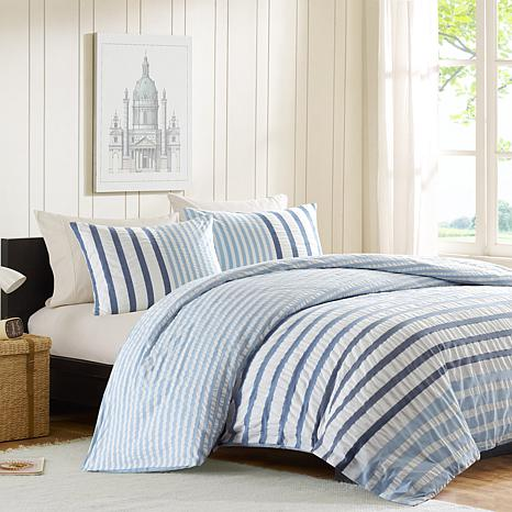 INK+IVY Sutton Cotton Duvet Cover Set - Blue -  Full/Queen
