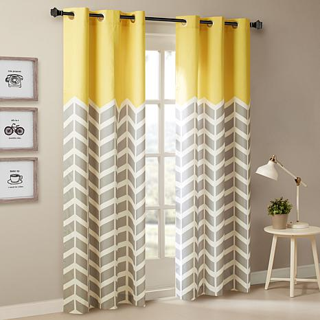 Intelligent Design Alex Chevron Grommet Curtain Pair Yellow 42x63