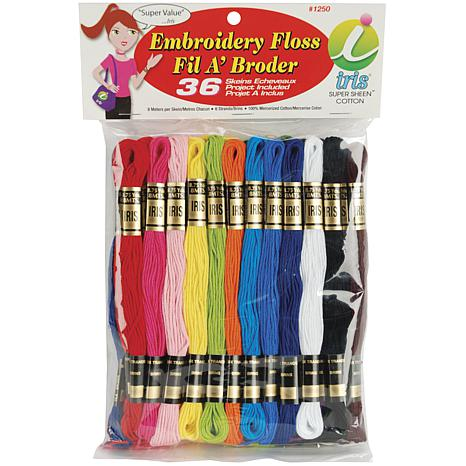 Iris Embroidery Floss Pack 8.7yd 36/Pkg - Primary Colors