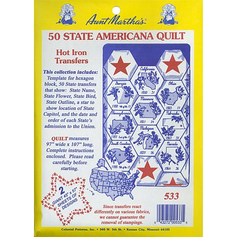 Iron-On Transfer Collections - 50 State Americana Quilt