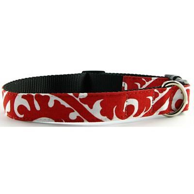 Isabella Cane Buddha Cotton Dog Collar - Red Large