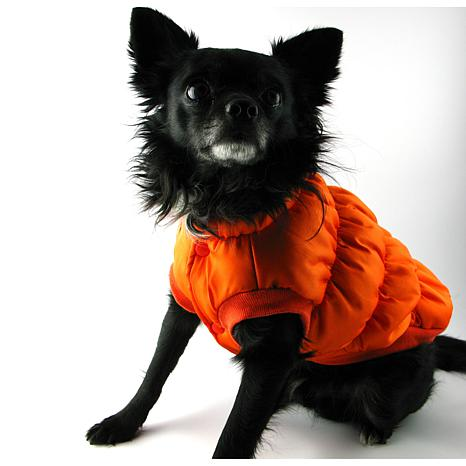 Isabella Cane Doggy Puffer Jacket Orange - Size 8