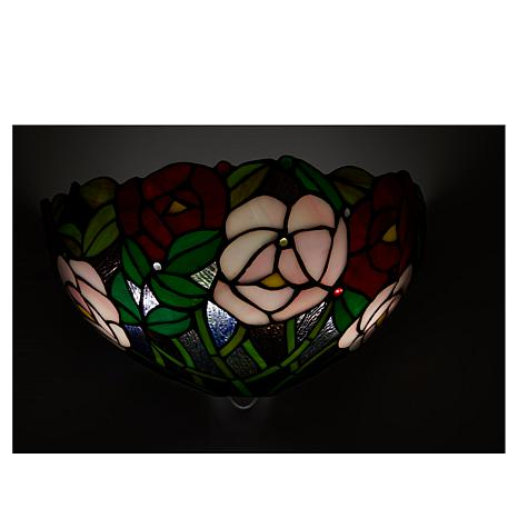 Hsn Battery Operated Wall Sconces : It s Exciting Lighting Battery Powered Wall Sconce - Stained Glass Rose - 8423321 HSN