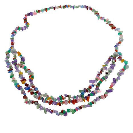 """Jade of Yesteryear 32"""" Multi-Color Chip Dragon Necklace"""
