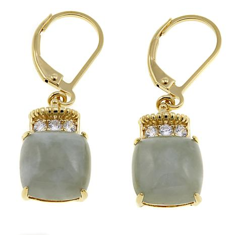 Jade Of Yesteryear Cushion Green And Cz Drop Earrings