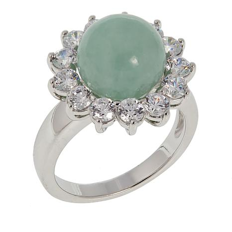 Jade of Yesteryear Green Jade Bead and CZ Sterling Silver Ring