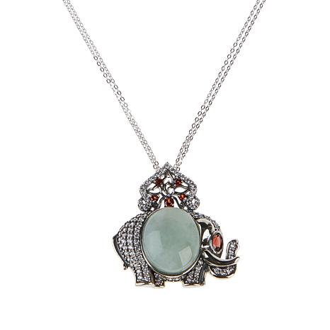 Jade of Yesteryear Jade and Garnet Elephant Pendant with Chain