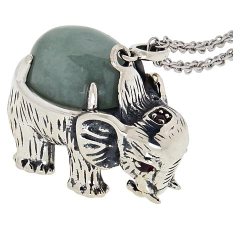 Jade of Yesteryear Jade and Ruby Elephant Pendant with Chain