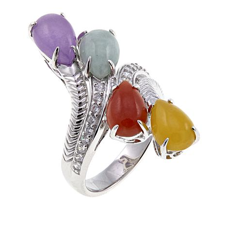 Jade of Yesteryear Multi-Jade Sterling Silver  Bypass Ring