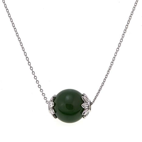 "Jade of Yesteryear Nephrite Green Jade Bead Pendant 18"" Necklace"