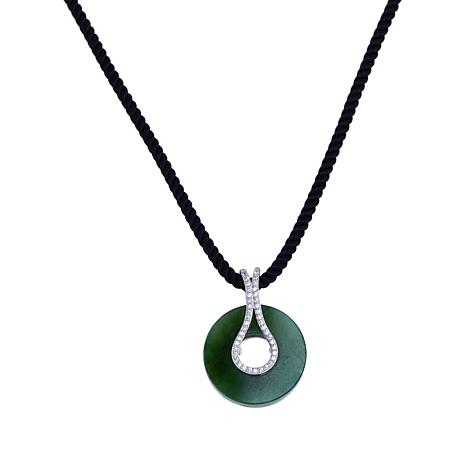 Jade of Yesteryear Nephrite Jade and CZ Disc Necklace with Silk Cord