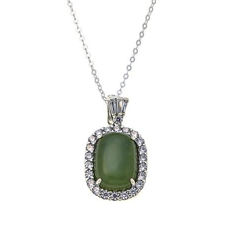 "Jade of Yesteryear Nephrite Jade and CZ Pendant with 18"" Chain"