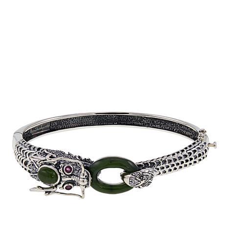 Jade of Yesteryear Nephrite Jade, Ruby and CZ Dragon Bracelet