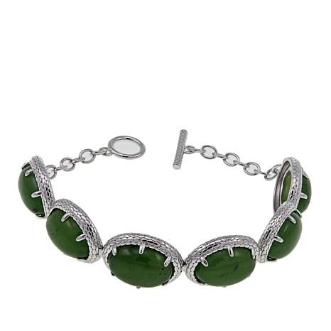 Jade Of Yesteryear Sterling Silver Toggle Bracelet