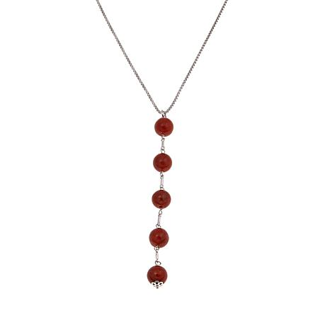 Jade of Yesteryear Red Jade Bead Y-Design Necklace