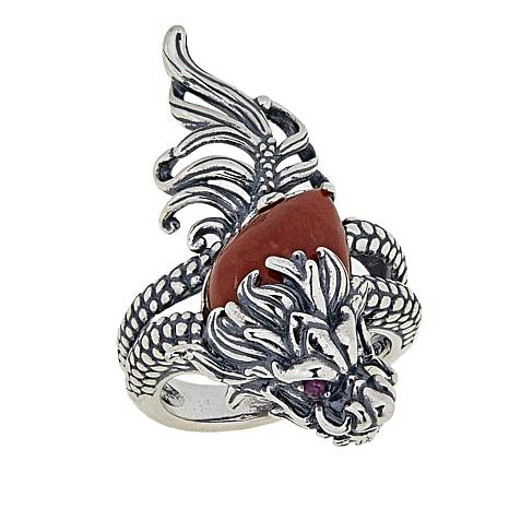 Jade of Yesteryear Ruby and Red Jade Dragon Ring