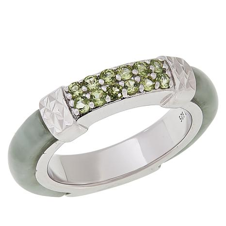 Jade of Yesteryear Sterling Silver Green Jade and Peridot Band Ring