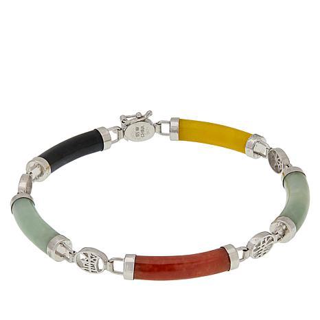 Jade of Yesteryear Sterling Silver Macaroni-Shaped Station Bracelet