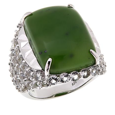 Jade of Yesteryear Sterling Silver Nephrite Jade and White Topaz Ring