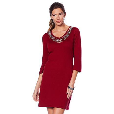 3afa71390237 Jamie Gries Embellished V-Neck Sweater Dress - 8789493