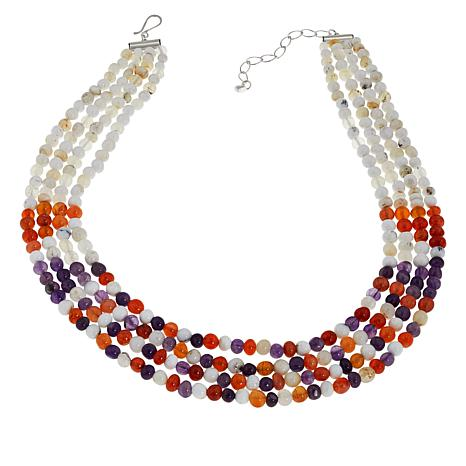 "Jay King 18"" Sterling Silver 4-Strand Multigemstone Bead Necklace"