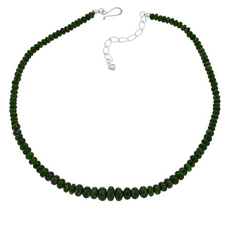 "Jay King 18"" Sterling Silver Chrome Diopside Graduated Bead Necklace"