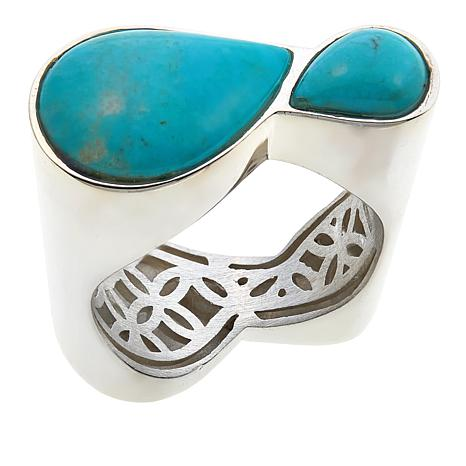 Jay King 2-Stone Turquoise Hill Turquoise Sterling Silver Ring