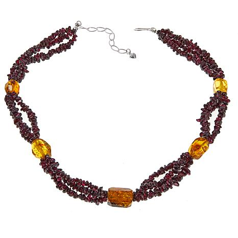 "Jay King 3-Strand Garnet and Copal 18-3/4"" Sterling Silver Necklace"