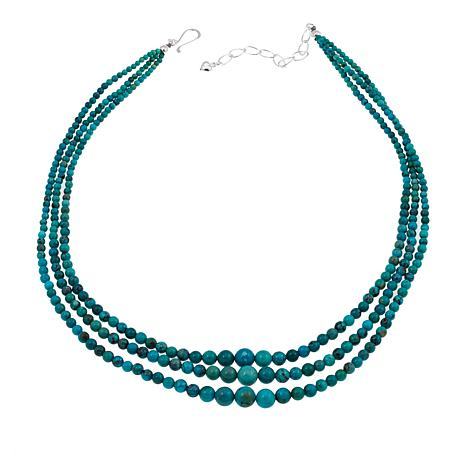 """Jay King 3-Strand Hubei Turquoise Bead 18"""" Sterling Silver Necklace"""