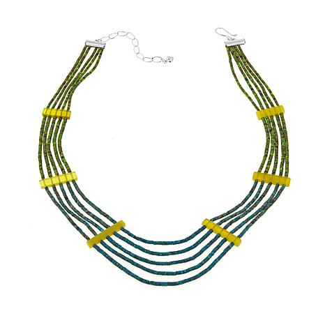 "Jay King 5-Strand Turquoise and Serpentine 18"" Necklace"