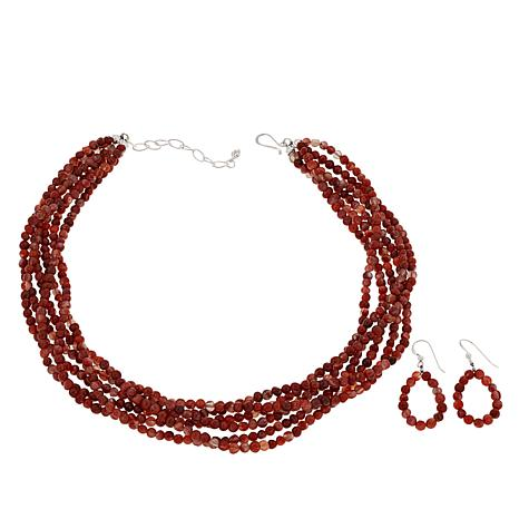 Jay King 6-Strand Picante Agate Bead Necklace and Earrings Set