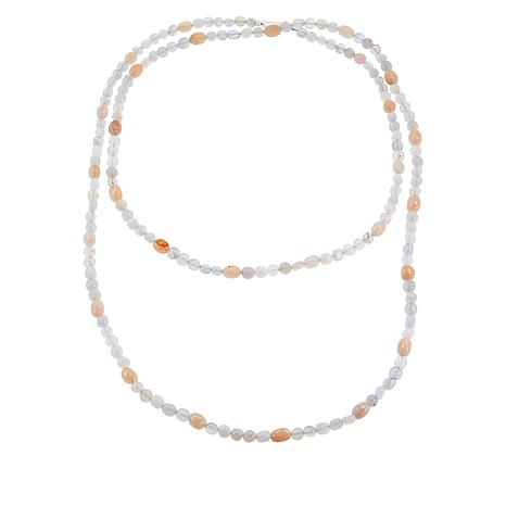 """Jay King 60"""" Blue Agate and Pink Morganite Bead Necklace"""