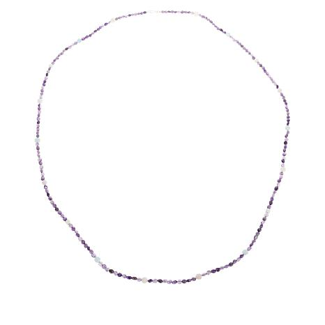 """Jay King 60"""" Sterling Silver Amethyst and Multi-Gemstone Bead Necklace"""