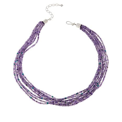 Jay King 8-Strand Amethyst and Turquoise Bead Necklace