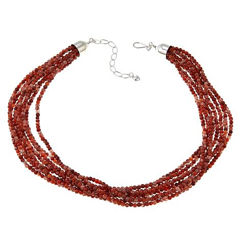 "Jay King 8-Strand Carnelian Bead 18"" Sterling Silver Necklace"