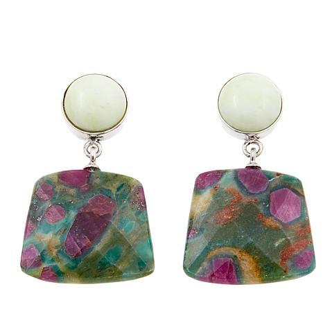 Jay King African Gaspeite & Ruby in Fuschite Sterling Silver Earrings